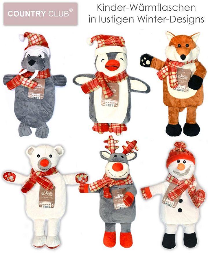 Kinder Wärmflasche mit Stoffbezug Winter