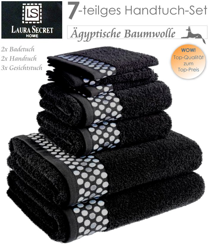 laura secret 7 teiliges handtuch set schwarz gyptische baumwolle badehandtuch ebay. Black Bedroom Furniture Sets. Home Design Ideas