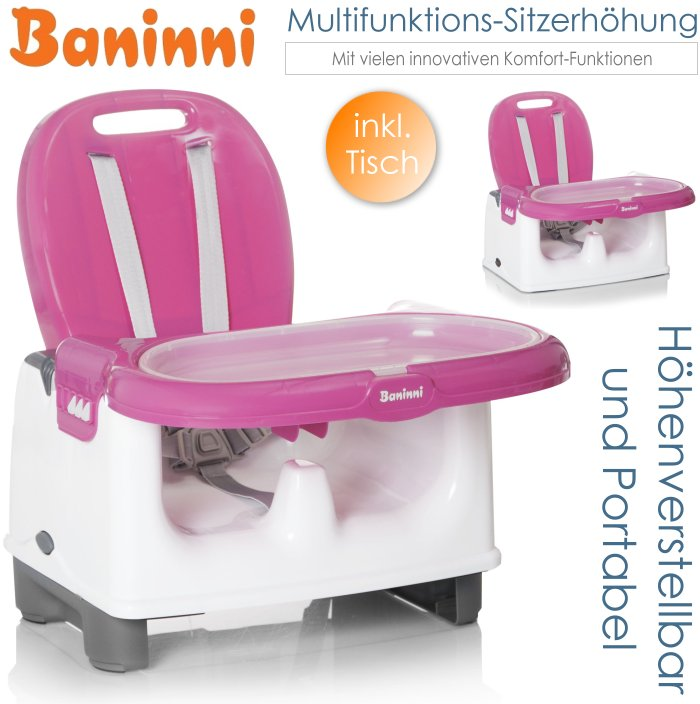 baninni baby multifunktions sitzerh hung mit tisch rosa. Black Bedroom Furniture Sets. Home Design Ideas