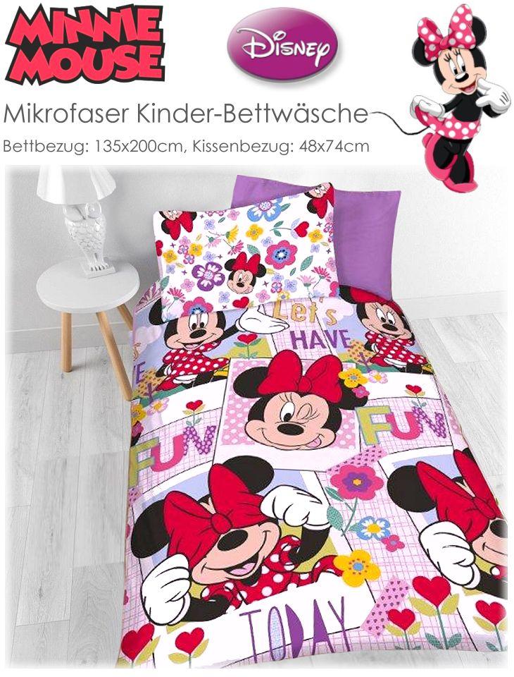 kinder bettw sche set minnie maus disney mouse garnitur. Black Bedroom Furniture Sets. Home Design Ideas