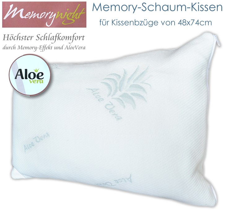 memory schaum kopfkissen f r kissenbezug von 48x74cm mit aloe vera memory effekt. Black Bedroom Furniture Sets. Home Design Ideas
