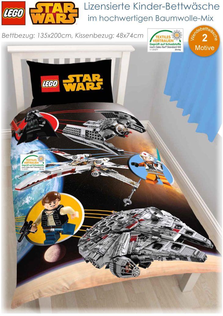 disney lego star wars kinder bettw sche baumwolle mix bett 135x200 48x74 neu ebay. Black Bedroom Furniture Sets. Home Design Ideas