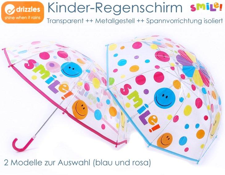 Kinder Regenschirm transparent Smile