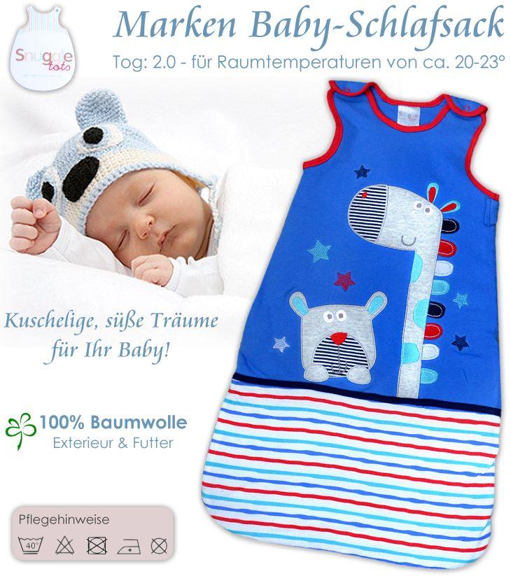 kuschelweicher Baby Schlafsack für Jungen in blau mit süßen Applikationen