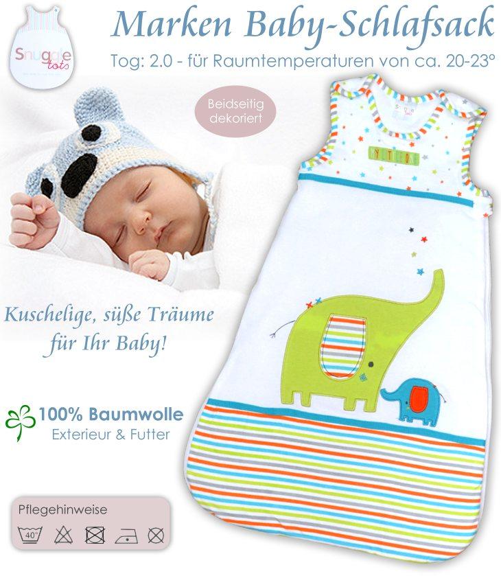 kuschelweicher Baby Schlafsack für Jungen und Mädchen mit süßen Applikationen