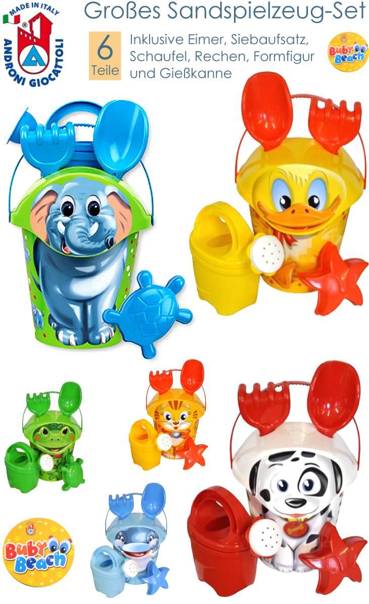 6-.teiliges Sandspielzeug für Sandkasten und Strand inklusive Giesskanne