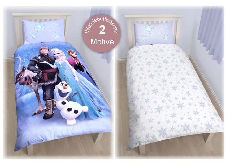 die eisk nigin kinder bettw sche baumwolle mix kissen und bett disney elsa olaf. Black Bedroom Furniture Sets. Home Design Ideas