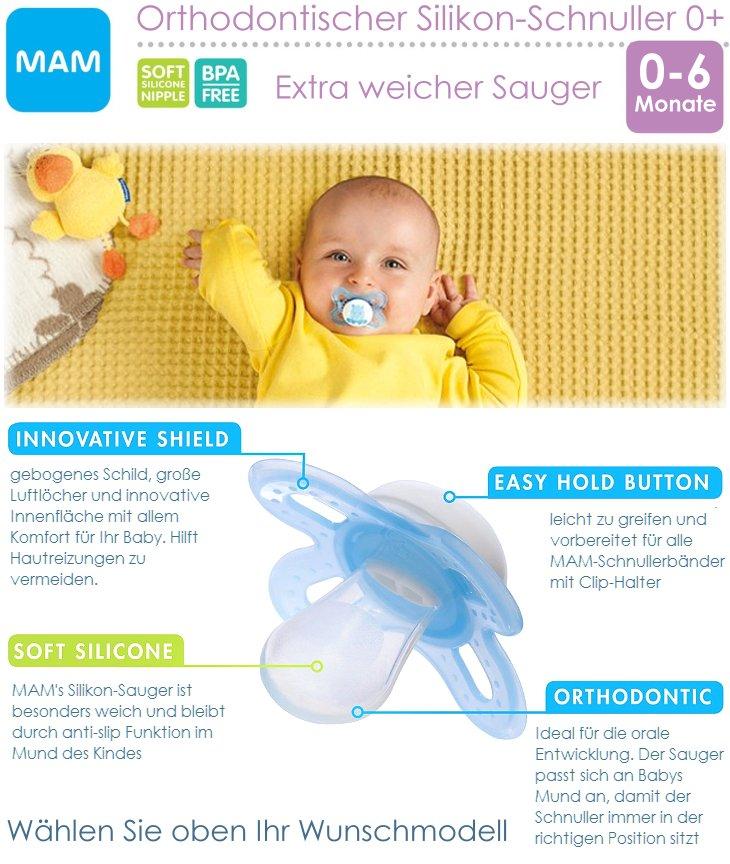 MAM Schnuller mit Seidensauger für Babys von 0-6 Monaten