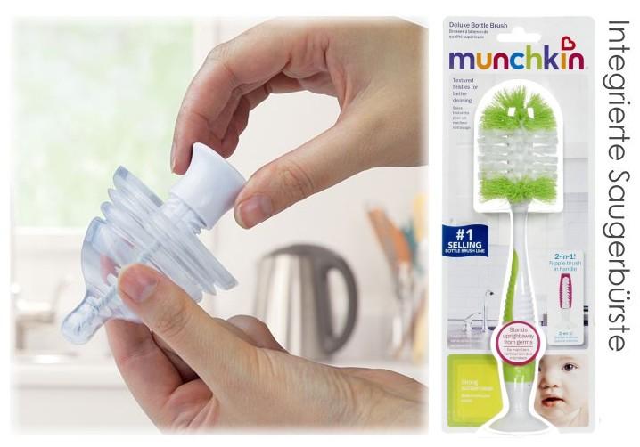 Flaschenbürste mit integrierter Saugerbürste für Babyflaschen