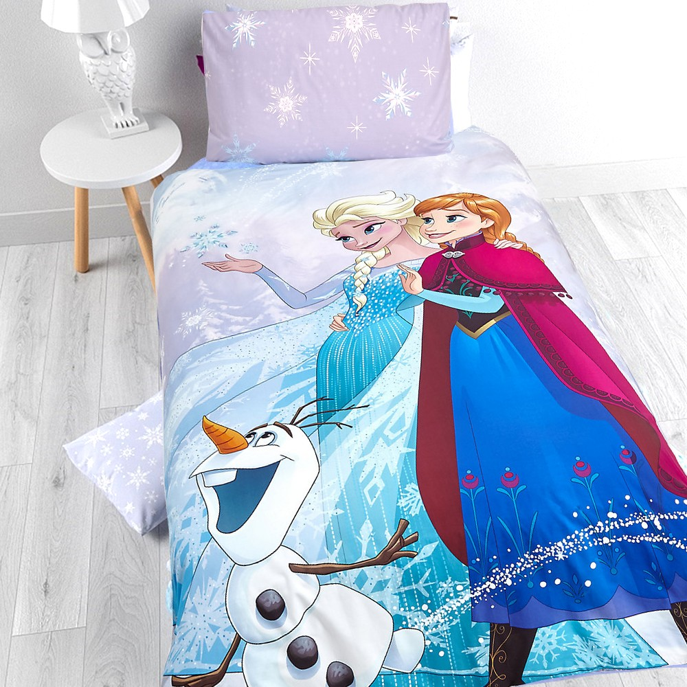 die eisk nigin kinder bettw sche perkal baumwolle bettset disney elsa anna olaf ebay. Black Bedroom Furniture Sets. Home Design Ideas