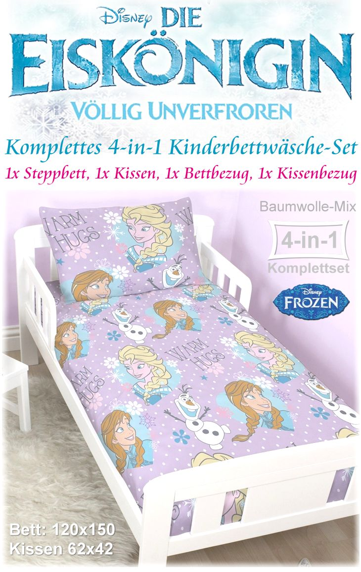 4in1 bettw sche set die eisk nigin frozen steppbett kissen und bezug kleinkinder ebay. Black Bedroom Furniture Sets. Home Design Ideas