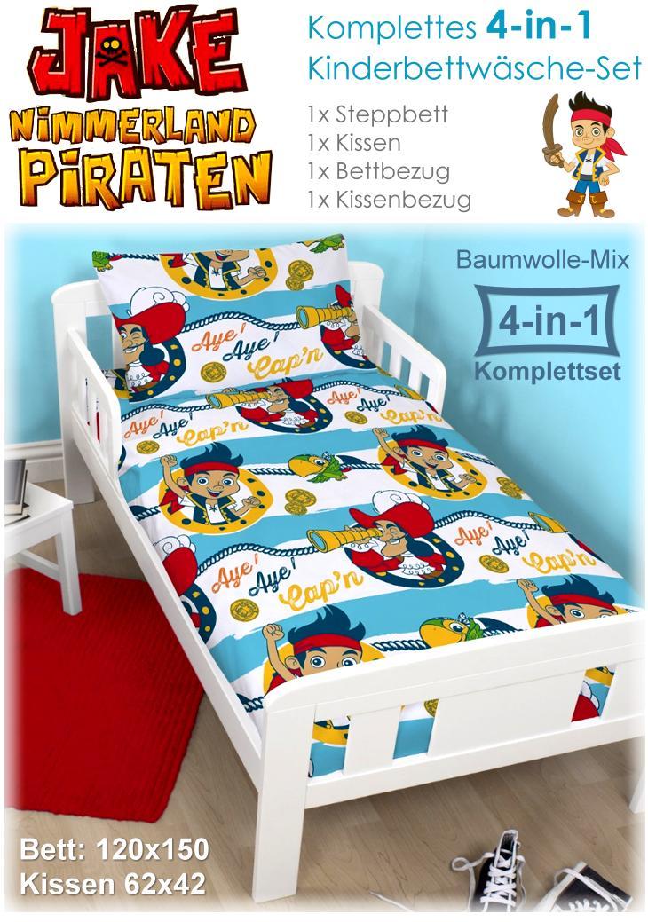 Kinderbettwäsche Jake und die Nimmerland Piraten Komplettset mit Steppbett und Kissen