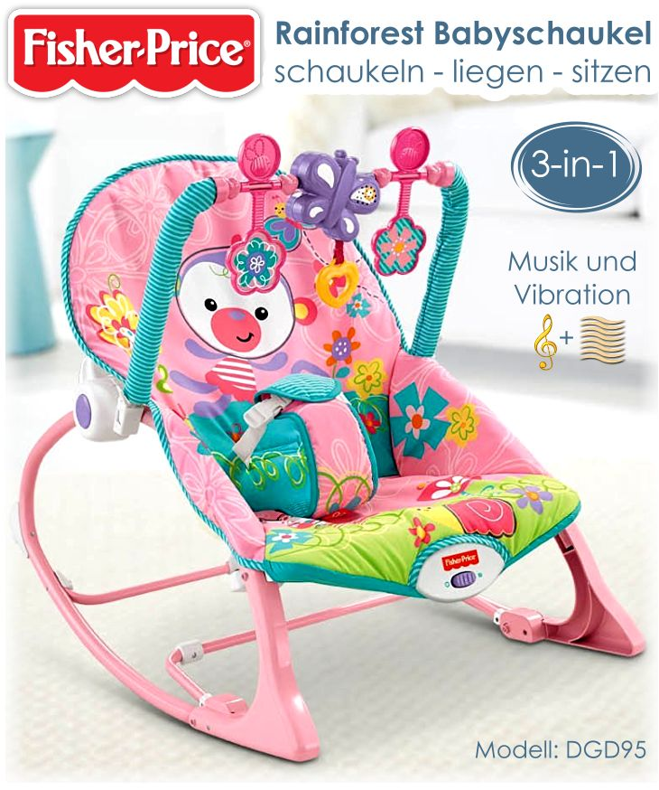 fisher price babyschaukel dgd95 babywippe schaukelsitz tierwelt rainforest rosa ebay. Black Bedroom Furniture Sets. Home Design Ideas