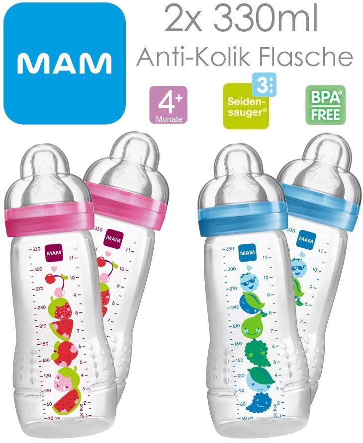MAM 2 Stück 330ml Babyflaschen mit Sauger Größe 3