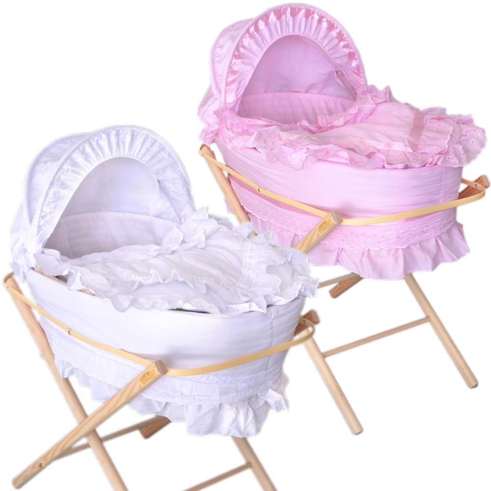 baby k rbchen babybett stubenwiege babywiege stubenwagen beistellbett weiss rosa ebay. Black Bedroom Furniture Sets. Home Design Ideas