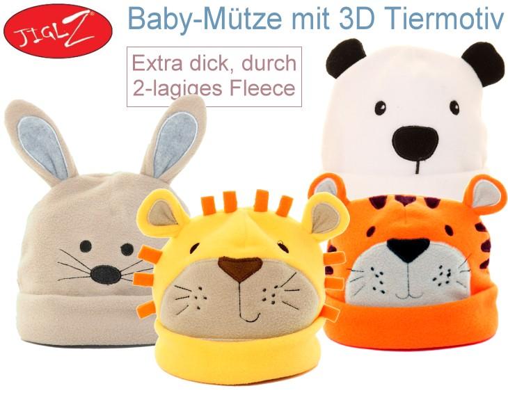 Babymütze mit 3D Tier-Motiv