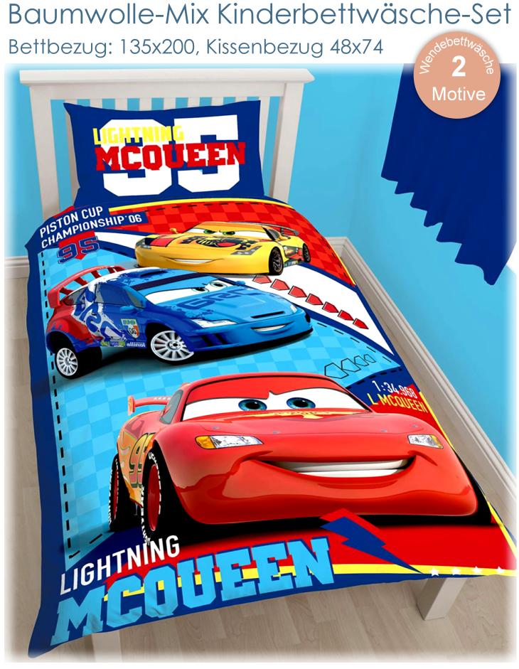 kinder bettw sche cars lightning mcqueen bett garnitur set f r jungen autos neu ebay. Black Bedroom Furniture Sets. Home Design Ideas
