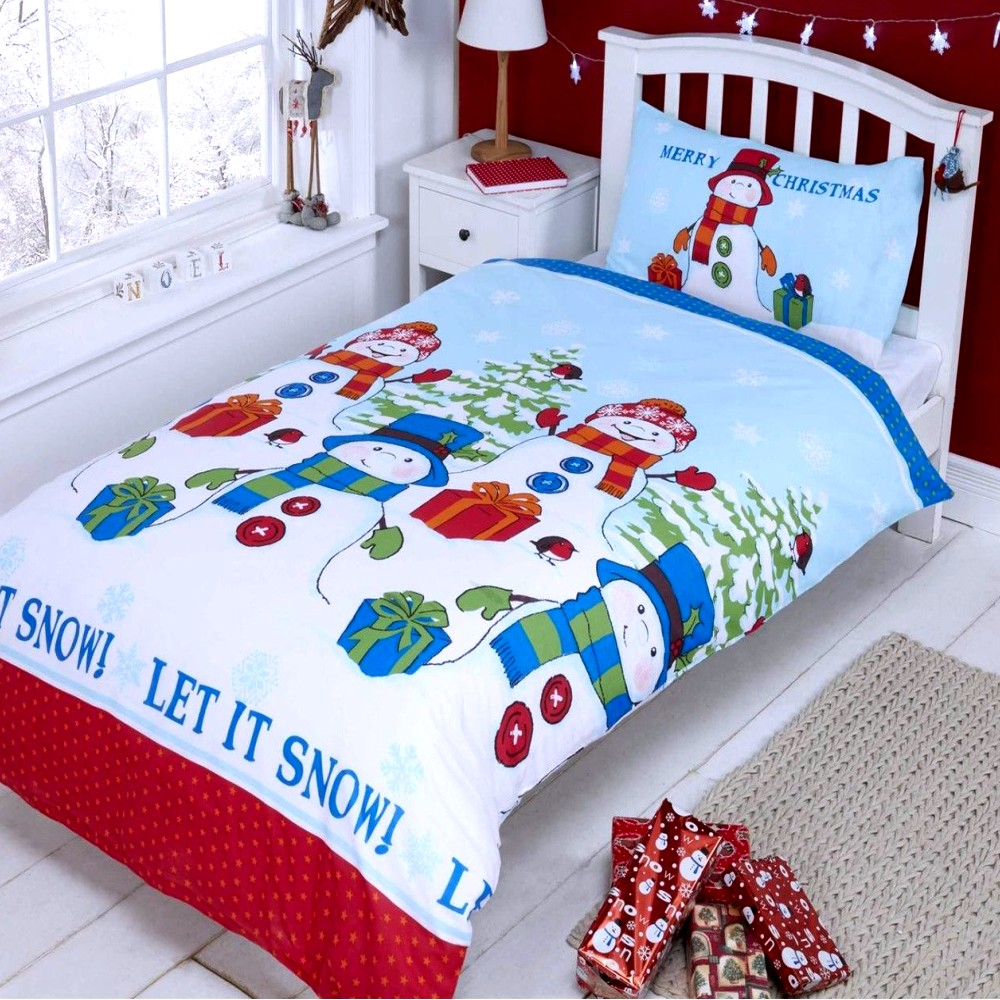 kinder bettw sche garnitur baumwolle mix winter dekor weihnachten schneemann neu ebay. Black Bedroom Furniture Sets. Home Design Ideas