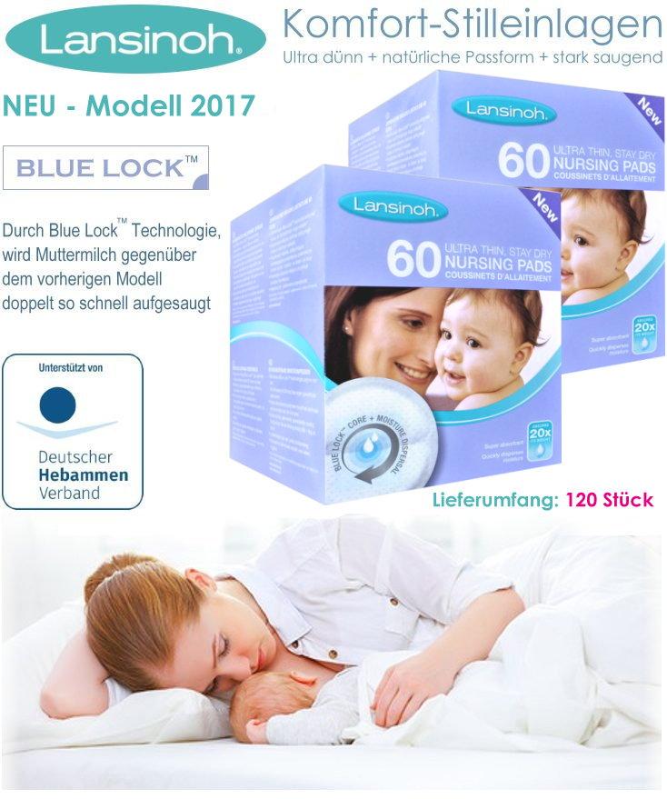 mit neuem Blue Lock-Kern 2x60 Stück LANSINOH 120 Stilleinlagen ultradünn
