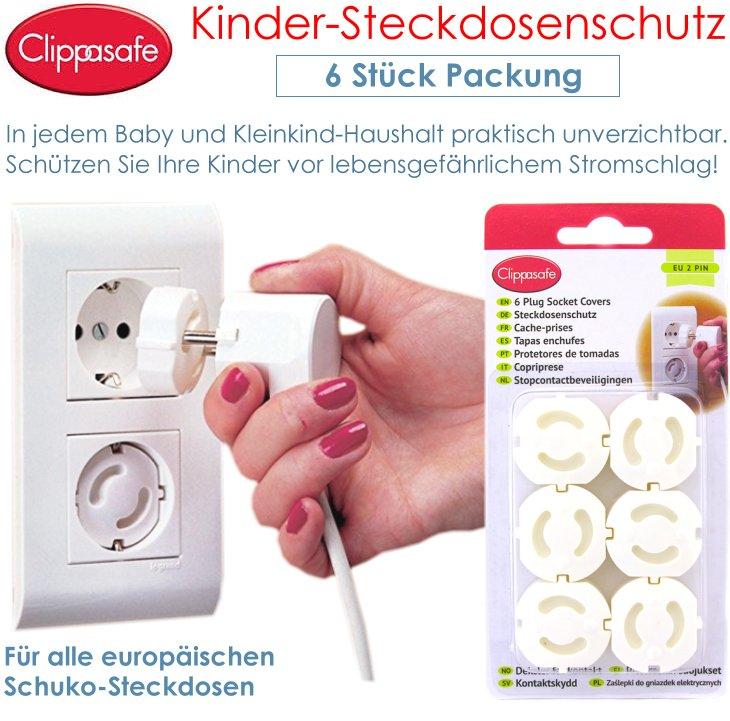 Clippasafe Kinder Steckdosenschutz Kindersicherung 6 Stück Set Stecker Kappe Neu