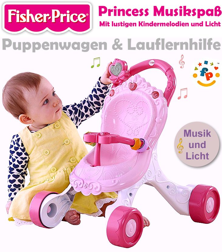 fisher price puppenwagen lauflernwagen musik licht cgn65 kinder laufen lernen ebay. Black Bedroom Furniture Sets. Home Design Ideas