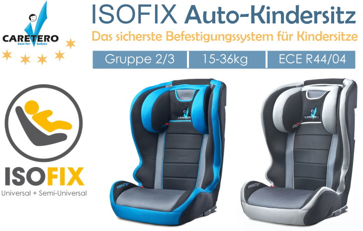 caretero isofix auto kindersitz presto fix gruppe ii iii. Black Bedroom Furniture Sets. Home Design Ideas