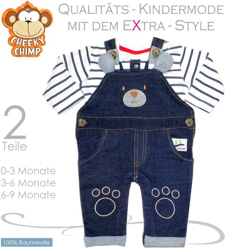 Cheeky Chimp 2 teiliges Baby Set mit Latzhose und Shirt