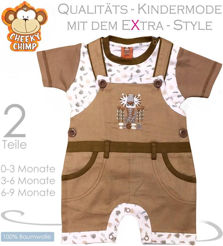 Cheeky Chimp 2 teiliges Baby Set mit Latzhose und Shirt Tiger