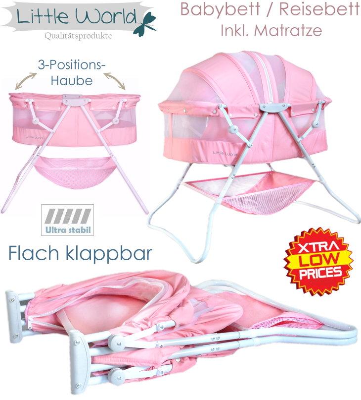 baby beistellbett reisebett babybett komplett rosa m dchen insektenschutz neu ebay. Black Bedroom Furniture Sets. Home Design Ideas