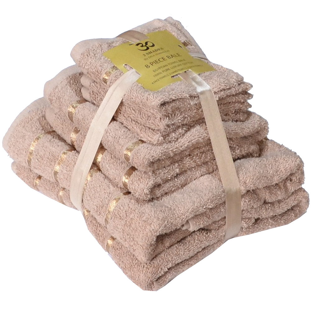 Handtuch Set Ägyptische Baumwolle 8-teilig Badetücher Handtücher Gesichtsuch Neu BEIGE