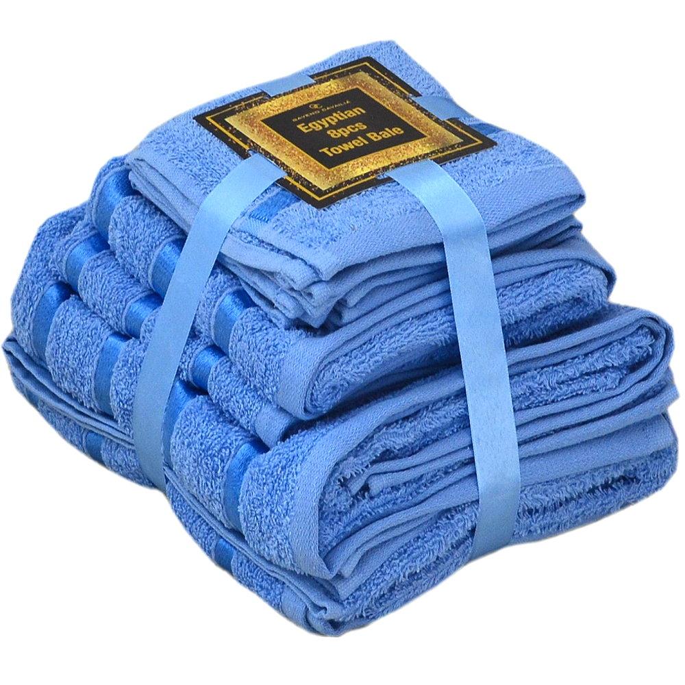 Handtuch Set Ägyptische Baumwolle 8-teilig Badetücher Handtücher Gesichtsuch Neu BLAU