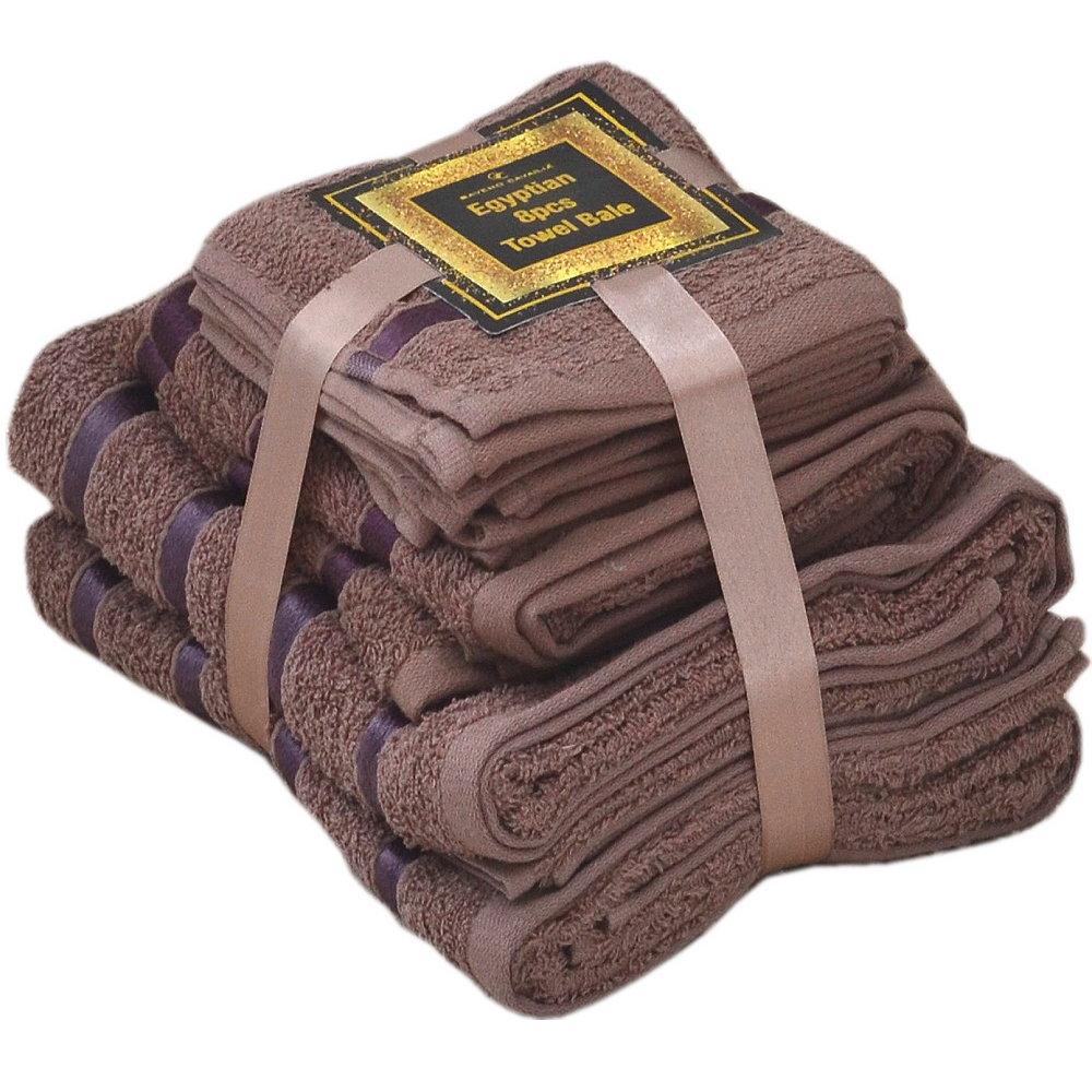 Handtuch Set Ägyptische Baumwolle 8-teilig Badetücher Handtücher Gesichtsuch Neu BRAUN
