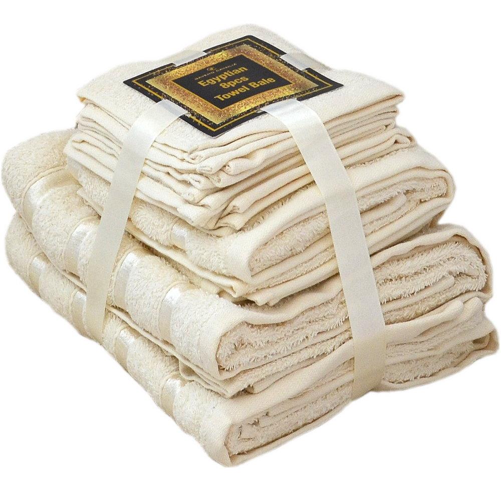 Handtuch Set Ägyptische Baumwolle 8-teilig Badetücher Handtücher Gesichtsuch Neu CREME
