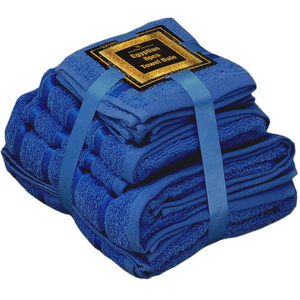 Handtuch Set Ägyptische Baumwolle 8-teilig Badetücher Handtücher Gesichtsuch Neu DUNKELBLAU