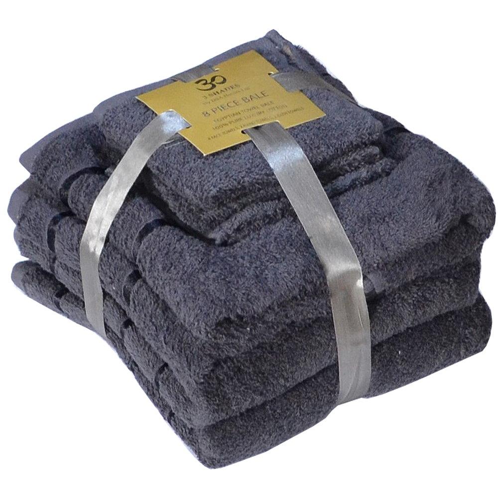 Handtuch Set Ägyptische Baumwolle 8-teilig Badetücher Handtücher Gesichtsuch Neu DUNKELGRAU