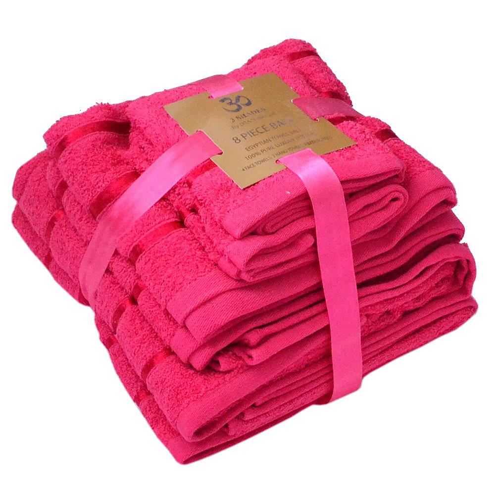 Handtuch Set Ägyptische Baumwolle 8-teilig Badetücher Handtücher Gesichtsuch Neu FUCHSIA
