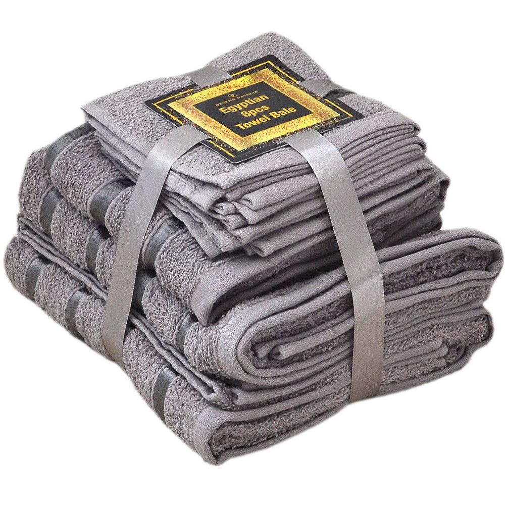 Handtuch Set Ägyptische Baumwolle 8-teilig Badetücher Handtücher Gesichtsuch Neu GRAU