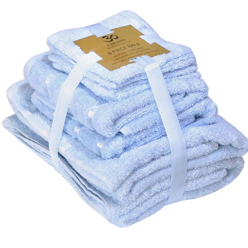 Handtuch Set Ägyptische Baumwolle 8-teilig Badetücher Handtücher Gesichtsuch Neu HELLBLAU