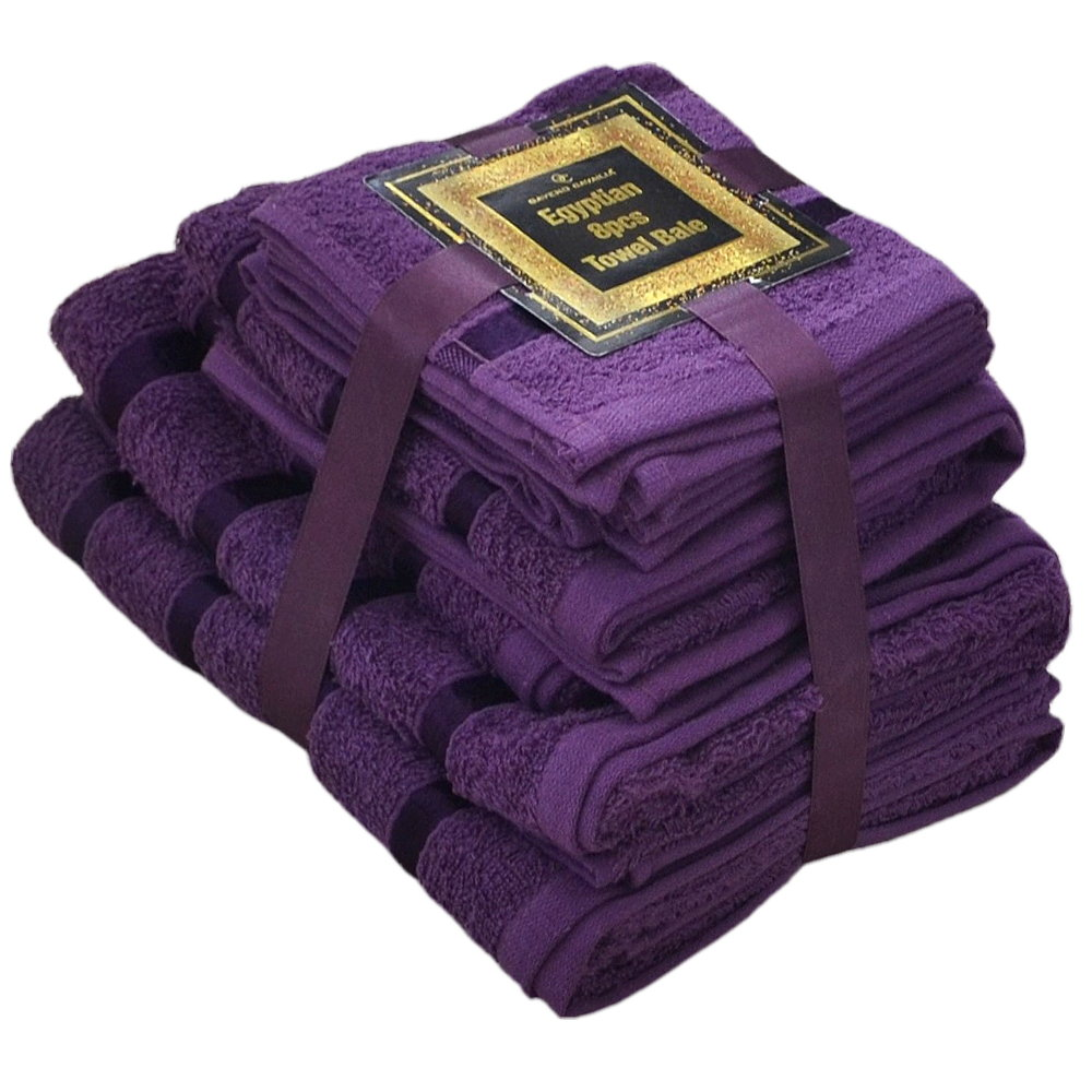 Handtuch Set Ägyptische Baumwolle 8-teilig Badetücher Handtücher Gesichtsuch Neu LILA