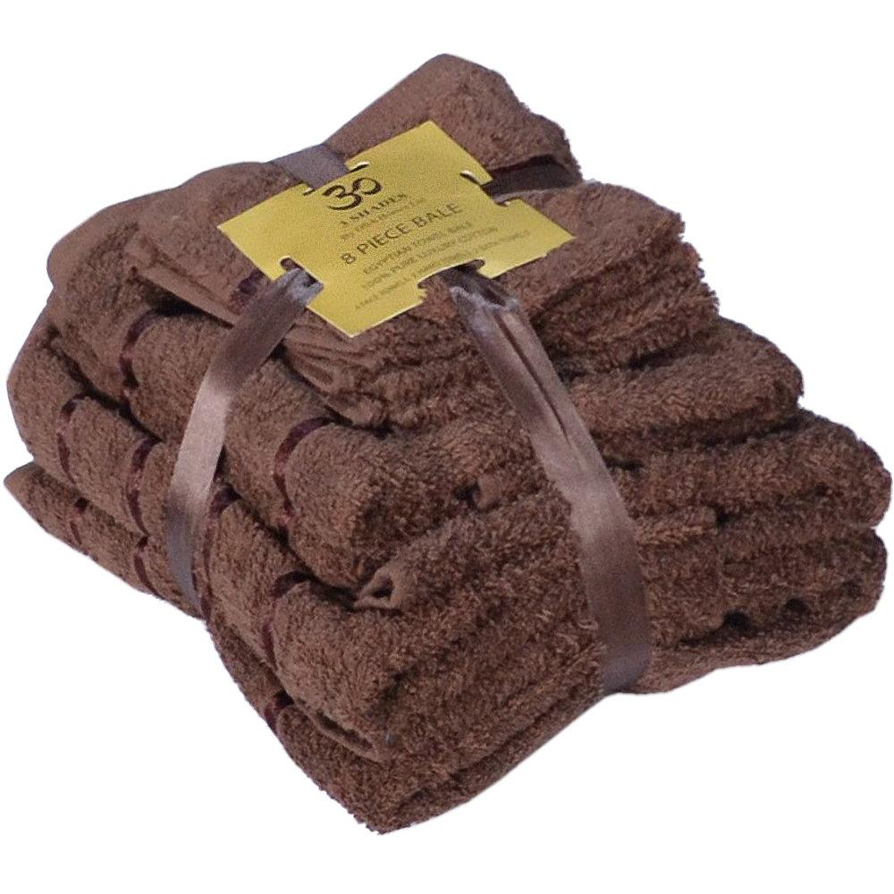 Handtuch Set Ägyptische Baumwolle 8-teilig Badetücher Handtücher Gesichtsuch Neu MOCCA