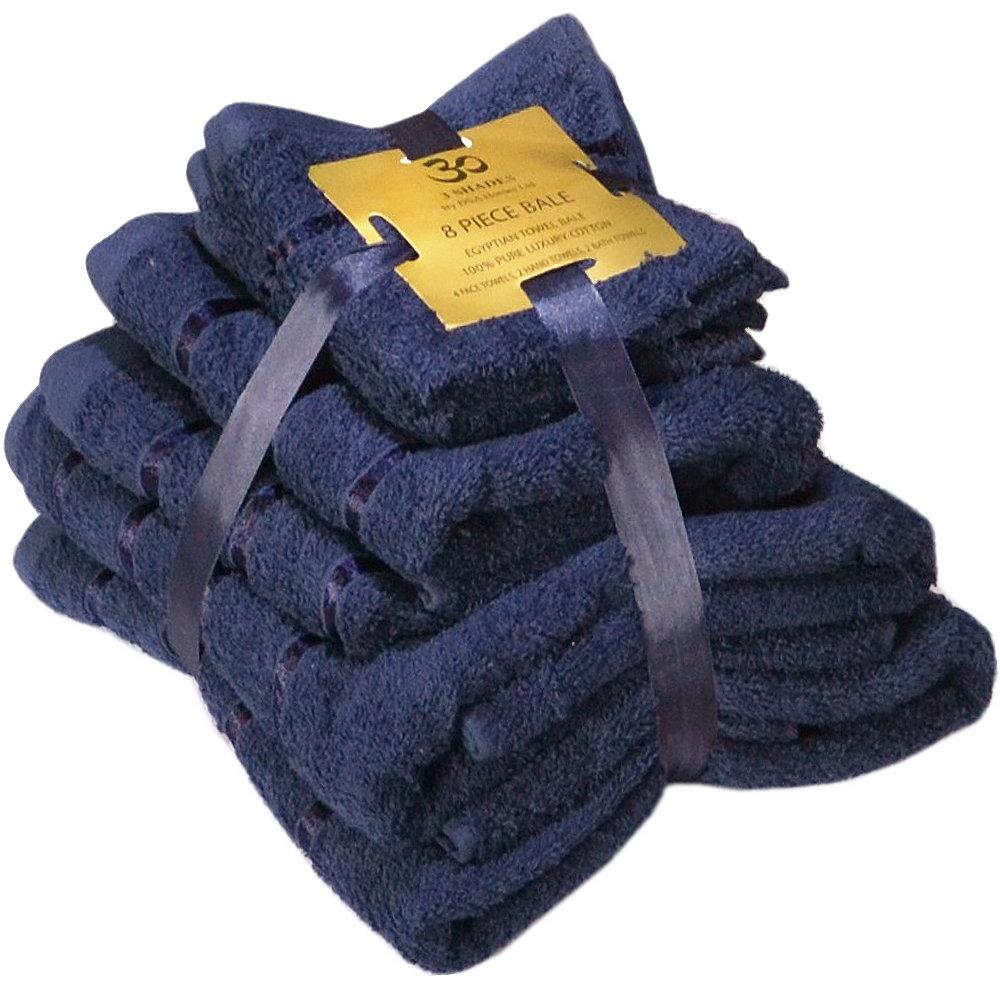 Handtuch Set Ägyptische Baumwolle 8-teilig Badetücher Handtücher Gesichtsuch Neu NAVY
