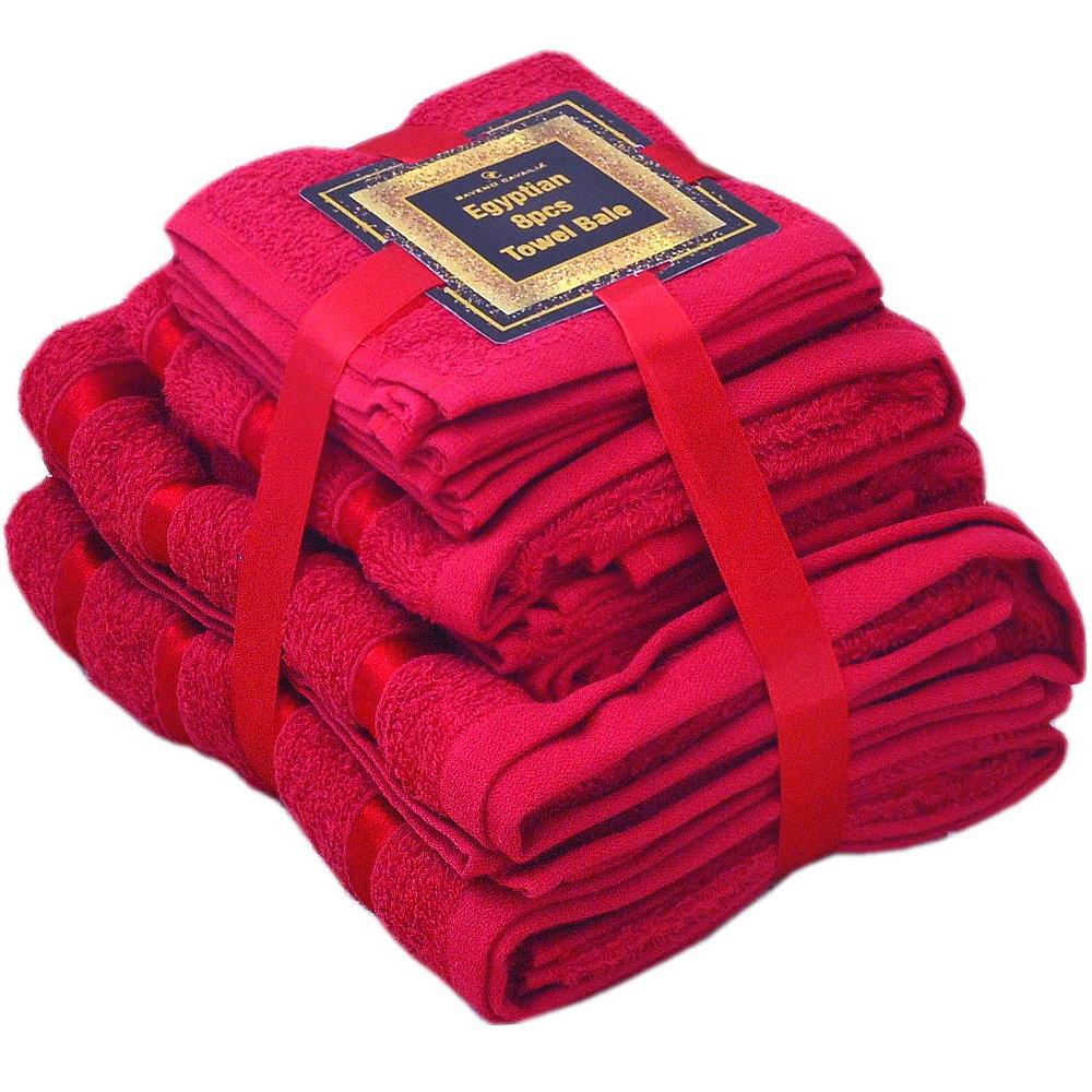 Handtuch Set Ägyptische Baumwolle 8-teilig Badetücher Handtücher Gesichtsuch Neu ROT