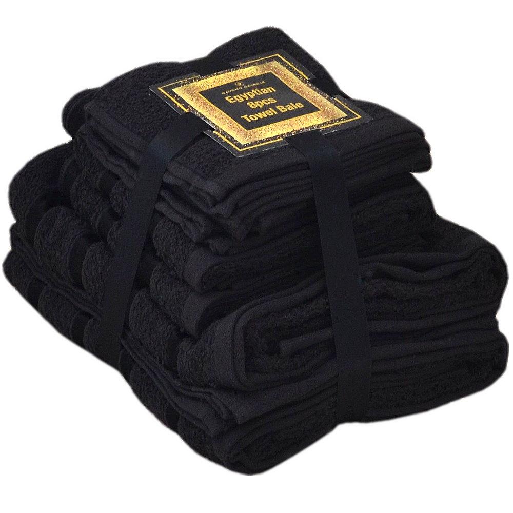 Handtuch Set Ägyptische Baumwolle 8-teilig Badetücher Handtücher Gesichtsuch Neu SCHWARZ