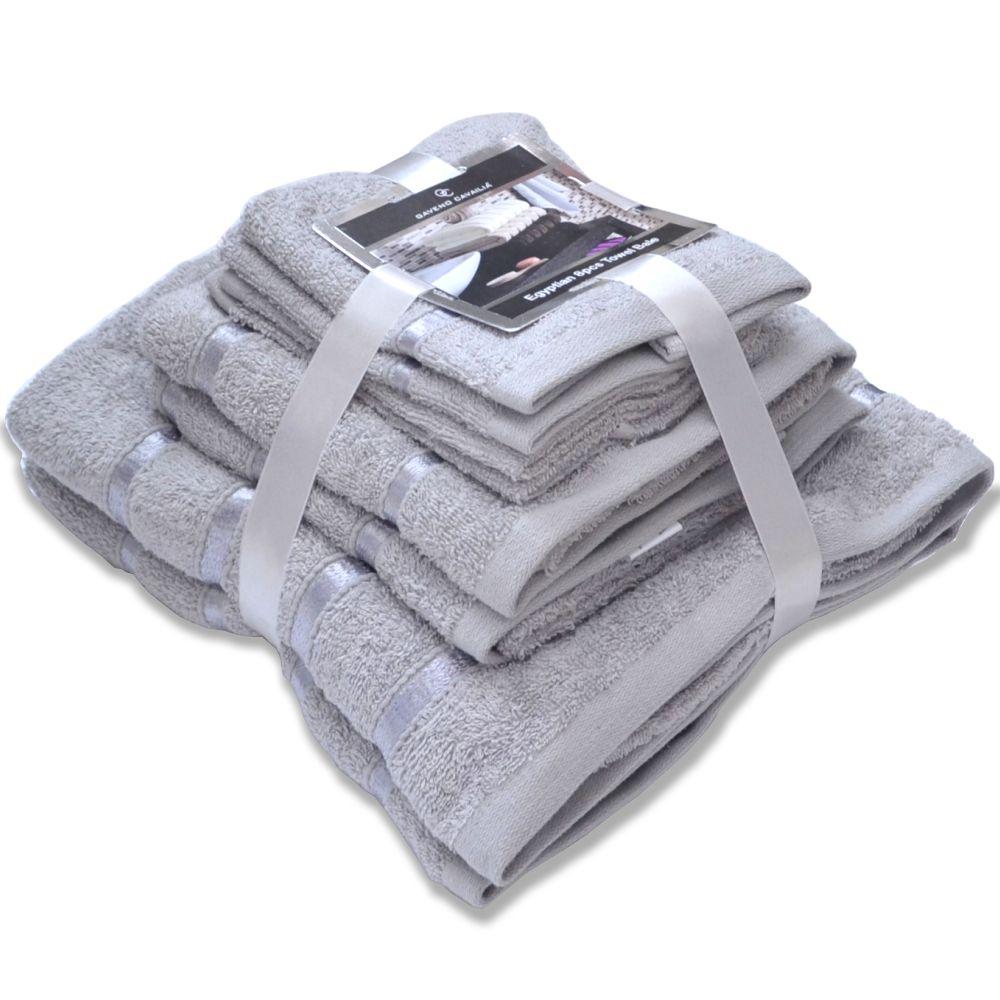 Handtuch Set Ägyptische Baumwolle 8-teilig Badetücher Handtücher Gesichtsuch Neu SILBERGRAU