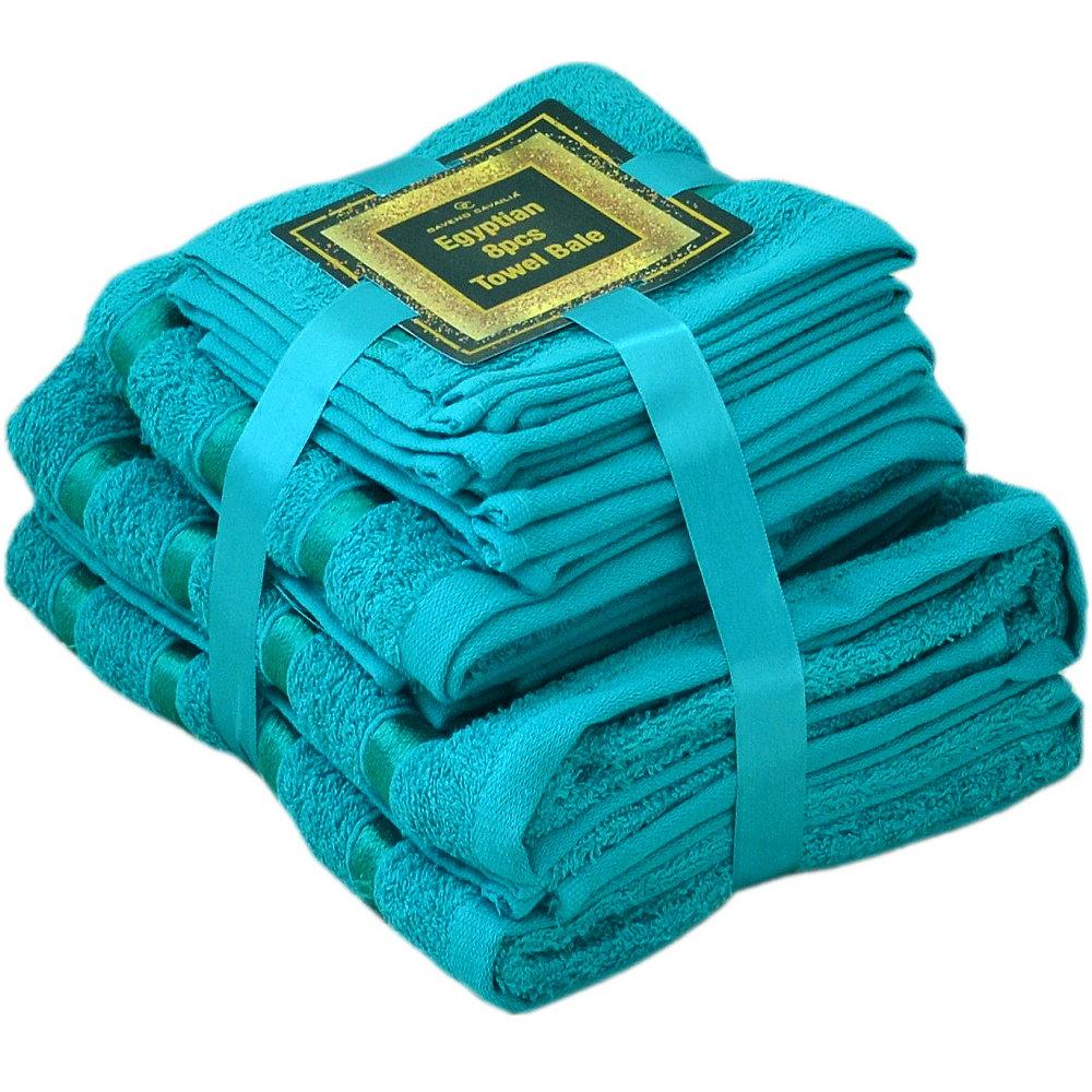 Handtuch Set Ägyptische Baumwolle 8-teilig Badetücher Handtücher Gesichtsuch Neu TÜRKIS