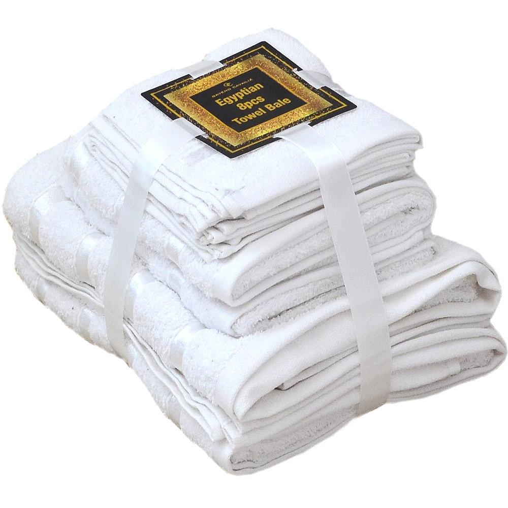 Handtuch Set Ägyptische Baumwolle 8-teilig Badetücher Handtücher Gesichtsuch Neu WEISS