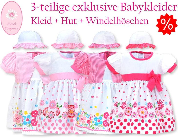 Sweet Elegance Kinderkleid Babykleid mit Hut und Windelhose