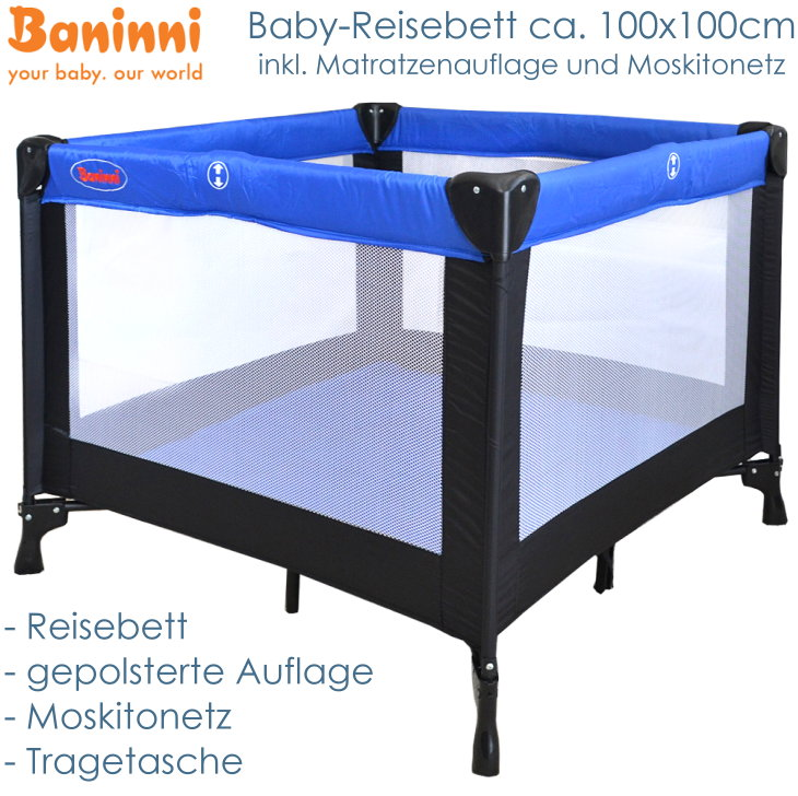 baby reisebett laufstall mit matratze auflage moskitonetz kinderbett klappbar ebay. Black Bedroom Furniture Sets. Home Design Ideas