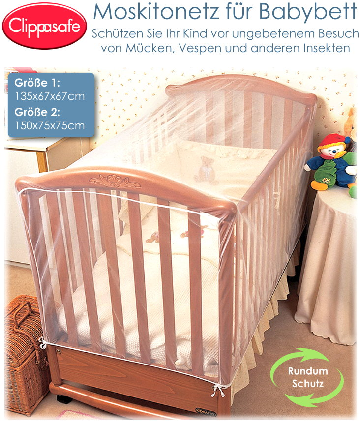Clippasafe Moskitonetz Insektennetz für Babybett