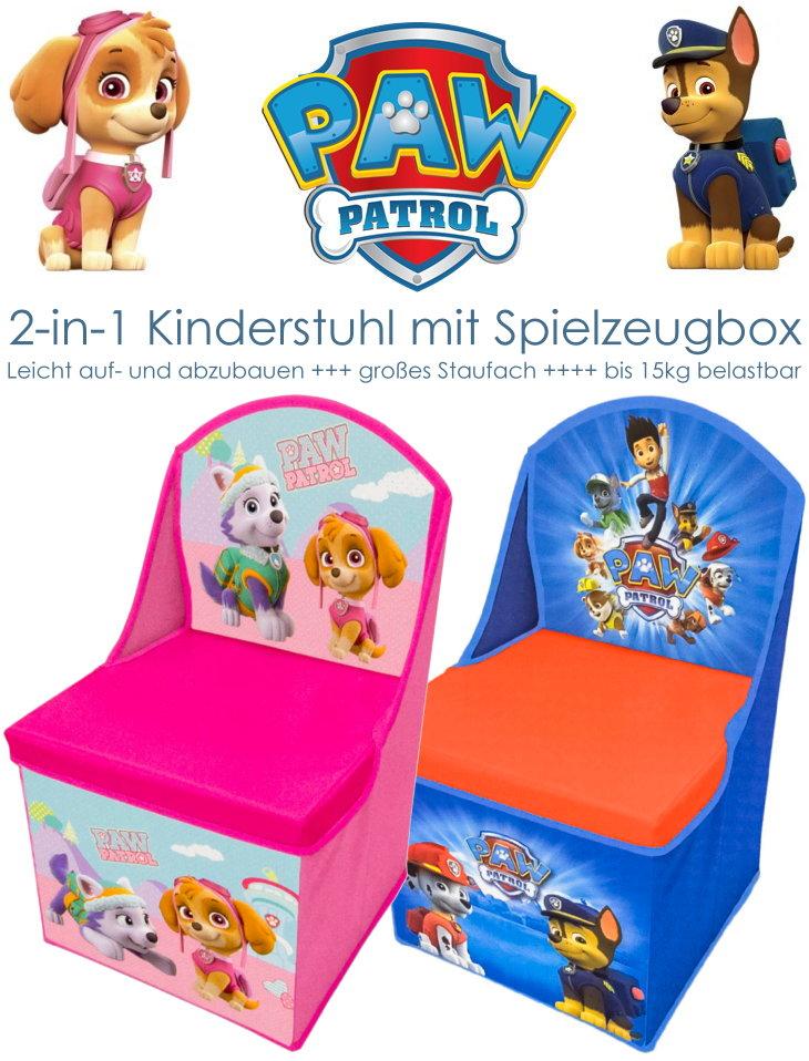 Nickelodeon Paw Patrol Kinderstuhl mit Lehne und Spielzeugbox